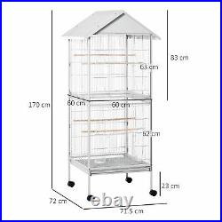 170cm Large Wrought Metal Bird Cage Mobile Feeder with Rolling Stand Perches