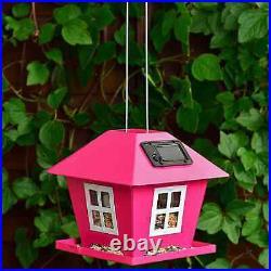 2 In Solar Bird Feeder & Use As Decorative Garden Ornament At Night Pink