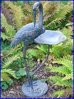 Antique Verdigris Finish Cast Iron Crane Garden Bird Feeder and Bath