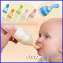 Baby Silicone Squeeze Feeding Bottle with Spoon Food Rice Cereal Feeder