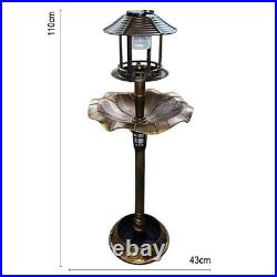 Bird Bath Feeder Station With Double Solar Light Free Standing Ornament Planter