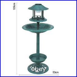 Bird Bath & Feeder With Solar Power Light Garden Ornamental Birds Table Station