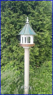 Bird Feeder Amish handmade handcrafted Patina copper roof Large 27 inches Round