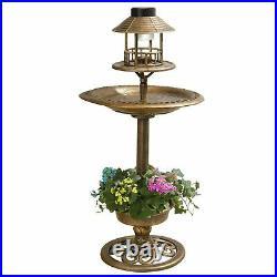 Bird bath & Feeder With Solar Power Light Birds Table Garden Station Ornament