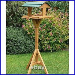 Brand New Free Standing Bird House Outdoor Wooden Feeder Weather Treated Garden