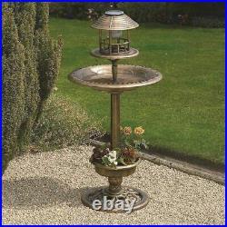 Bronze Outdoor Bird Feeder Bath Solar Light Weather Resistant Garden Hotel New