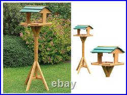 Deluxe Bird Table Feeding Station Wooden Feeder Garden Wood House Free Standing