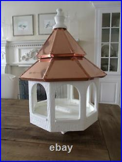 Double Copper Roof Bird Feeder Amish Made in USA Large 27 in