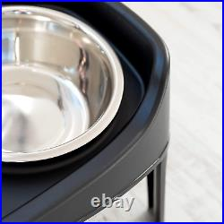 Elevated Pet Feeder Dog Cat Food Water Feeding Twin Bowl Raised Stand Tray Large