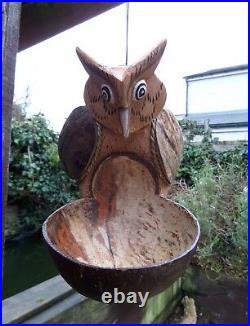 Fair Trade Hand Made Wooden Coconut Owl Bird Hanging Bird Seed Feeder Station