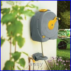 Hozelock 40m Fast Reel Wall Mounted Garden Hose & 2m Feeder Hosepipe with Nozzle