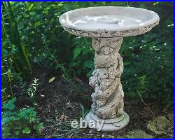 Intricate Fruit Stone Cast Solid Concrete Bird Bath Feeder by DGS Statues 60KGS