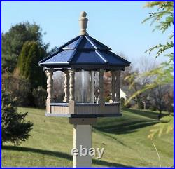Large Gazebo Poly Bird Feeder Spindle type Amish Handcrafted Clay and Blue