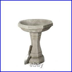 Large Octagonal Stone Cast Solid Birdbath Feeder Table by DGS Statues 58KGS