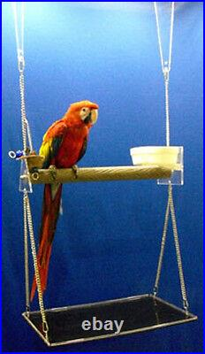 MACAW PARROT PERCH SWING GYM feeder cups bird toy play gym playground