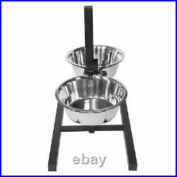 Medium Height Adjustable Raised Stainless Steel Dog Water Food Bowls Feeder