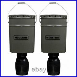 Moultrie 6.5 Gallon Directional Hanging Bucket Auto Timer Deer Feeder (2 Pack)