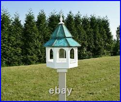 Patina Double Copper Roof Bird Feeder Amish Made in USA Large 27 in