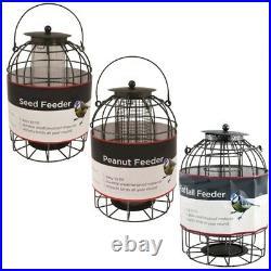 Set Of 3 Hanging Metal Wild Bird Feeders Feeding Seed Peanut Nut & Fatball