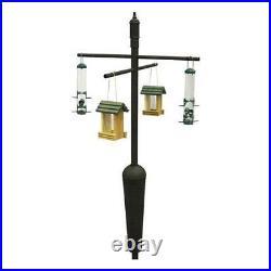 Squirrel Stopper DELUXE Black Bird feeder Pole set w Baffle Squirrel proof