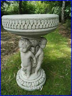 THREE CHERUB ANGEL BIRD BATH FEEDER Stone Highly Detailed Garden Ornament Decor