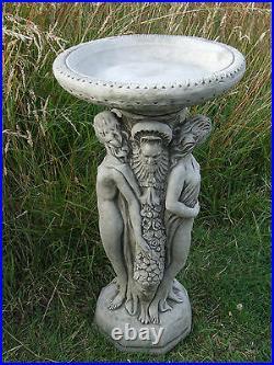 THREE GRACES BIRD BATH FEEDER Hand Cast Stone Garden Ornament Statue onefold-uk