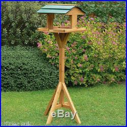 Traditional Garden Wooden Table Free Standing Bird Feeding Feeder Birds House