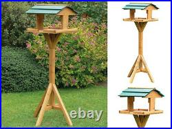Traditional Wooden Bird Feeder Station Table Garden Birds Feeding Free Standing