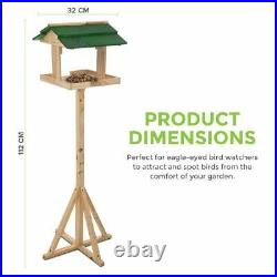 Traditional Wooden Bird Table Green roofed Free Standing Bird Feeding Station UK
