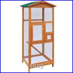 VidaXL Bird Cage Wood Outdoor Flying Animal Aviary Shelter Parrot House Feeder